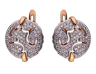 Золоті сережки з цирконієм куб. 01-17578982 фотографія
