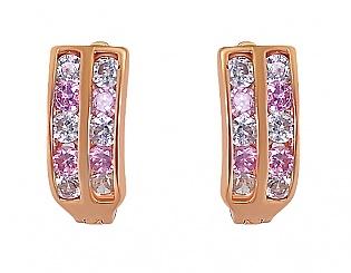 Золоті сережки з фіанітами 1-с-13 фотографія