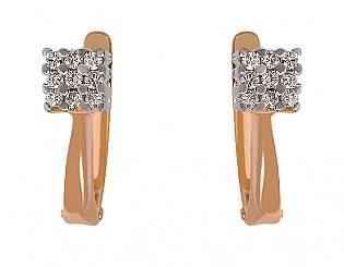 Золоті сережки з діамантом 4-с-234 фотографія