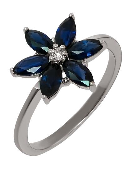 Золотое кольцо с бриллиантом и сапфирами (15-000130624)