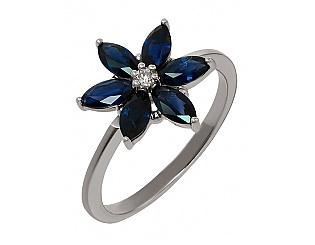 Золотое кольцо с сапфиром и бриллиантом 2к-237 фотография