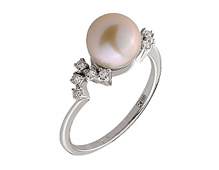 Золотое кольцо с бриллиантом и жемчугом 2к-275 фотография