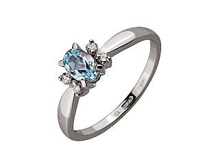 Золотое кольцо с бриллиантом и топазом 01-17593083 фотография