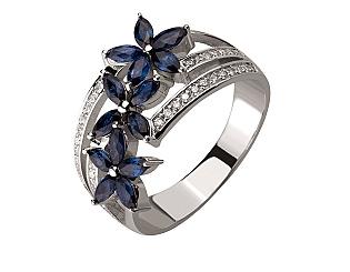 Золотое кольцо с бриллиантом и сапфиром 2б_к-153 фотография