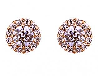 Золоті сережки з фіанітами 1с-154 фотографія