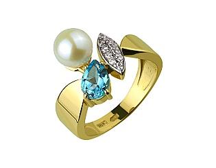 Золотое кольцо с фианитами и жемчугом и топазами 9б_к-133 фотография