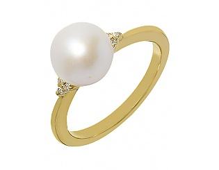 Золотое кольцо с фианитом и жемчугом 3б_к-064 фотография
