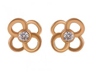Золоті сережки з фіанітами 1-с-301 фотографія
