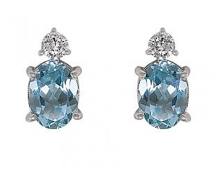 Золоті сережки з топазом і діамантами 2с-008 фотографія