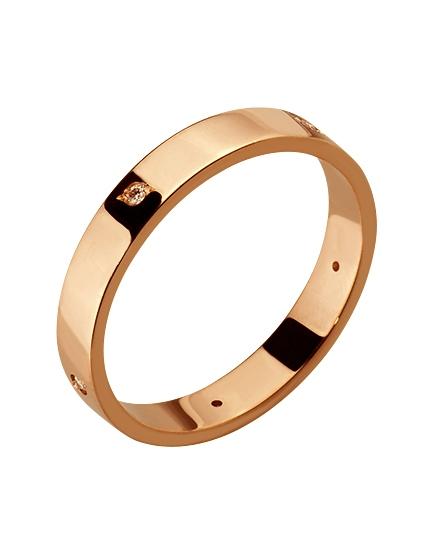 """Золотое обручальное кольцо 585 пробы с бриллиантами (15-000085070) """"Ювелирная карта"""""""