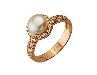 Золотое кольцо с фианитами и жемчугом 1б_к-131 фотография