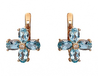 Золоті сережки з фіанітом і топазом 1с-137 фотографія