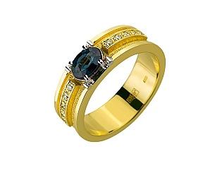 Золота каблучка з діамантами і корундами 01-17547986 фотографія