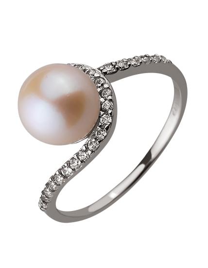 Золотое кольцо с цирконием куб. и жемчугом 01-17578986 фотография 1