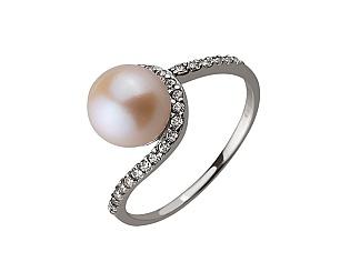 Золотое кольцо с цирконием куб. и жемчугом 01-17578986 фотография