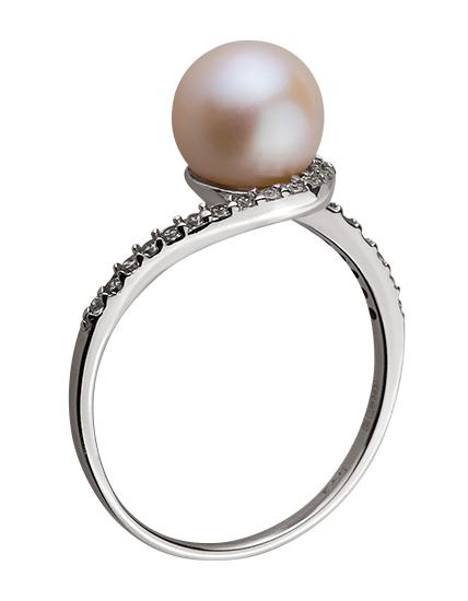 Золотое кольцо с цирконием куб. и жемчугом 01-17578986 фотография 2