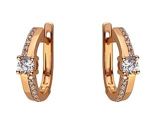 Золоті сережки з цирконієм куб. 01-17604186 фотографія