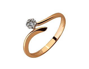 Золота каблучка з діамантами 01-17620786 фотографія