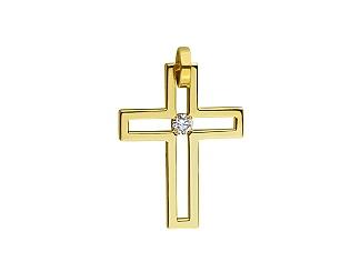 Золотий  хрестик з діамантом 01-17668686 фотографія
