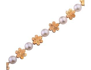 Золотий браслет з перлинами 1б_б-002 фотографія
