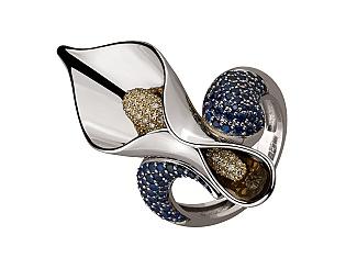 Золота каблучка з сапфірами і діамантами 5б_к-192 фотографія