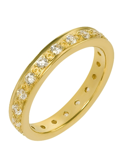 """Золотое обручальное кольцо 585 пробы с фианитами (15-000055322) """"Ювелирная карта"""""""