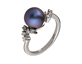 Золотое кольцо с бриллиантами и жемчугом 2к-275 фотография