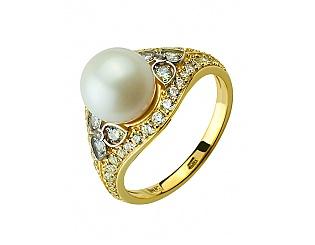 Золотое кольцо с фианитами и цирконием куб. и жемчугом 9б_к-128 фотография