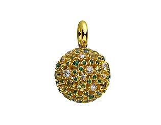 Золотий кулон з діамантами і хризолітами і перидотами і топазами 3б_п-175 фотографія