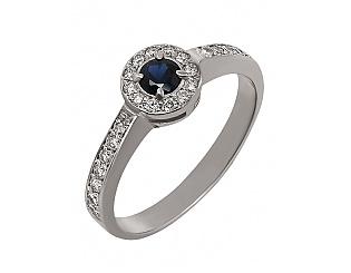 Золотое кольцо с сапфирами и бриллиантами 2б_к-002 фотография