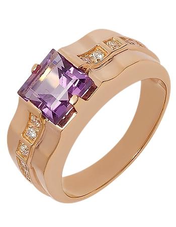 Золотой перстень 585 пробы с аметистом и фианитами (15-000087595)