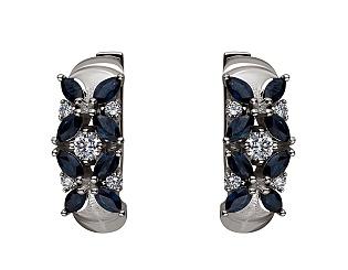 Золоті сережки з сапфіром і діамантами 2б_с-146 фотографія