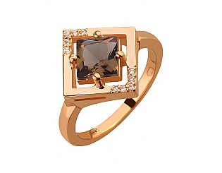 Золота каблучка з ювелірним склом і цирконієм куб. 1б_к-042 фотографія