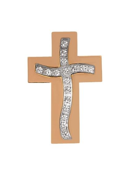 Золотой крестик 585 пробы с фианитами (01-15406789)