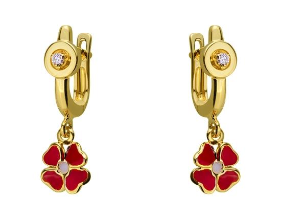Золоті сережки з діамантами 01-17620889 фотографія