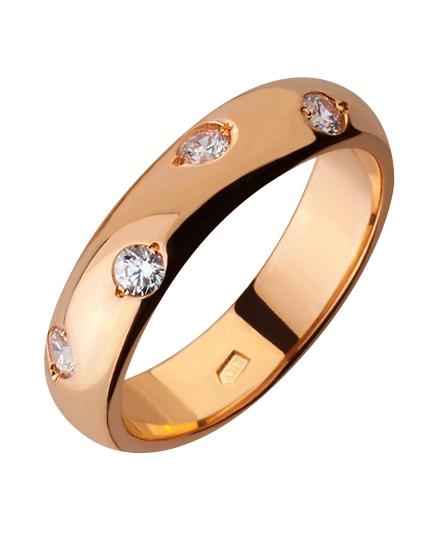 """Золотое обручальное кольцо 585 пробы с фианитами (15-000088182) """"Ювелирная карта"""""""