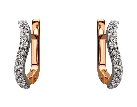 Золоті сережки з цирконієм куб. 01-17620890 фотографія 1