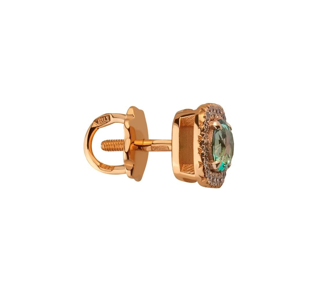 Золоті сережки з фіанітами і топазами 1б_с-142 фотографія