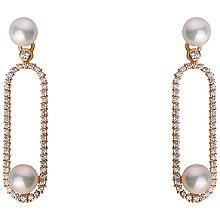 Золоті сережки з перлиною і фіанітом і цирконієм куб. (1б_с-183)