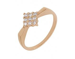 Золота каблучка з діамантами 1б_к-012 фотографія