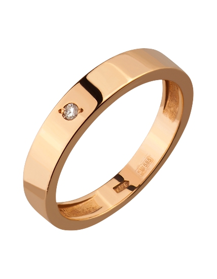 Золота каблучка з діамантом 1к-165 фотографія 1