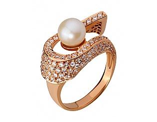 Золотое кольцо с фианитами и жемчугом 01-16313691 фотография