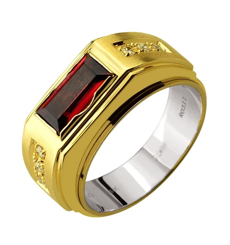 Золота каблучка з діамантами і гранатами 01-17329391 фотографія