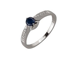 Золотое кольцо с бриллиантом и корундом 01-17534091 фотография