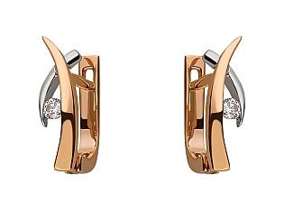 Золоті сережки з діамантом 01-17547991 фотографія
