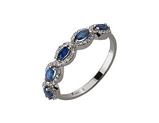 Золотое кольцо с бриллиантом и корундом 01-17497192 фотография