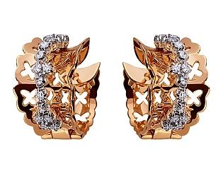 Золоті сережки з діамантом 01-17620792 фотографія