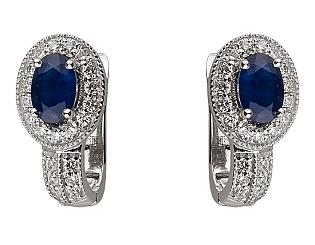 Золоті сережки з діамантами і корундами 01-17648392 фотографія