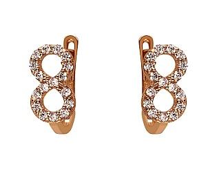 Золоті сережки з цирконієм куб. 01-17668692 фотографія