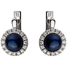 Золоті сережки з діамантами і перлиною (2б_с-072)